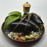 Eggplants on a plate Stock Images