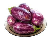 Eggplants on round plate Royalty Free Stock Photos