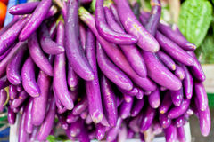Eggplants on Sale in an Asian Market Royalty Free Stock Images