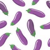 Eggplants seamless pattern Stock Photo