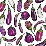 Eggplants seamless pattern Royalty Free Stock Photo