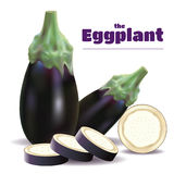 Eggplants and sliced Royalty Free Stock Image