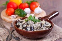 Eggplants in sour cream Stock Image