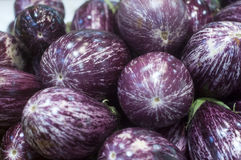 Eggplants with stripes at the market. Eggplants with stripes purple and white at the market Stock Photo