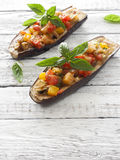 Eggplants stuffed with cheese and vegetables Royalty Free Stock Image