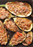 Eggplants stuffed with meat sauce Stock Photos