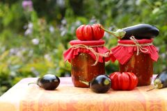 Eggplants in tomatoes in jars are located on a table in the garden. Harvesting for the winter. Fresh tomatoes, aubergines, garlic and bell peppers are on the stock image
