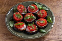 Eggplants with tomatoes and sauce. Healthy vegetarian food. Appetizer royalty free stock images
