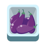Eggplants in Tray Flat Design Illustration. Royalty Free Stock Photography