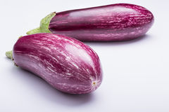 Eggplants. Two striped eggplants on white background Stock Image