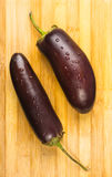 Eggplants on wooden Board Royalty Free Stock Images