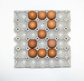 eggs бумажный поднос для рынка Стоковое Изображение RF