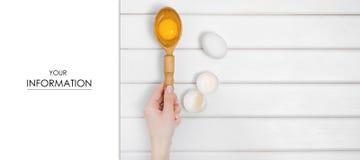 Eggs деревянная ложка в картине желтка руки Стоковая Фотография RF