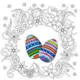 Eggs украшение с цветками doodle Стоковое Изображение RF