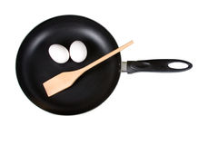 eggs шпатель сковороды Стоковые Фотографии RF