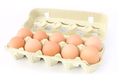 Eggs. In the box isolated on white background Royalty Free Stock Photography