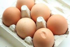 Eggs. Half dozen eggs in tray Stock Image