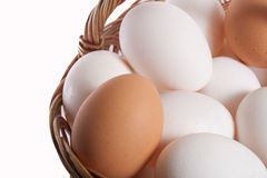 Eggs. Basket with eggs in it isolated on white backgound Royalty Free Stock Image