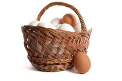 Eggs. Basket with eggs in it isolated on white backgound Royalty Free Stock Photos