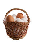 Eggs. Basket with eggs in it isolated on white backgound Stock Photography