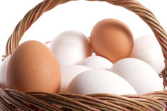Eggs. Basket with eggs in it isolated on white backgound Stock Photos