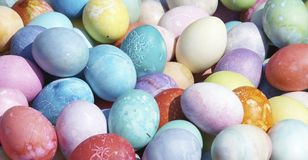 Eggs. A lot of brightly-colored Easter eggs Stock Images