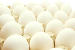 Eggs. Many white eggs lay in cells. On a white background Royalty Free Stock Photos