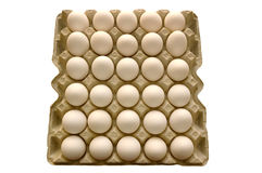 Eggs. Many white eggs lay in cells. On a white background Royalty Free Stock Photo