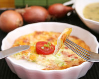 Eggs. A snack of fresh eggs with onions and cheese Royalty Free Stock Photo
