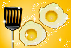 Eggs. Illustrations of the eggs and spatula Stock Image