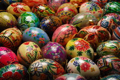 Eggs. Motley easter eggs Different colors and own output Stock Images