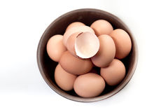 Eggs. In a ceramic bowl Royalty Free Stock Images