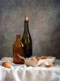 Eggs. Still life with eggs and bottles Royalty Free Stock Photography