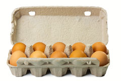 Eggs. Brown eggs in carton packaging Royalty Free Stock Photography