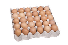 Eggs. 30 eggs box on white background Stock Photography