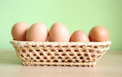 Eggs. Some eggs in a basket stock image