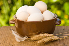 Eggs. In old bowl with shallow DOF Stock Photos