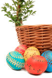 Eggs. Wooden basket and easter eggs Stock Photo