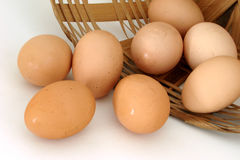 Eggs. Falling from a basket Royalty Free Stock Photos
