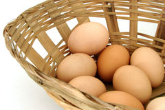 Eggs. Some eggs falling from a basket royalty free stock photography