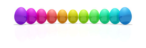 Eggs. Shiny reflective eggs in rainbow colors Royalty Free Stock Photography