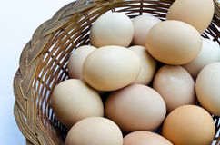 Eggs. In a basket with the white background Stock Photography