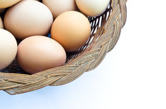 Eggs. Part of a basket of eggs Royalty Free Stock Photo