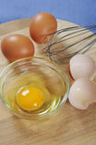 Eggs. Raw chicken eggs on wooden cutting board Stock Image