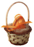 Eggs. Painted Easter eggs in a basket isolated from the background Stock Photo