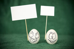 Eggs. Living and emotional eggs, different situation royalty free stock photos