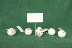 Eggs. Living and emotional eggs, different situation royalty free stock image