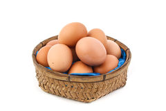Eggs. Many eggs in a basket on white nackground Royalty Free Stock Image