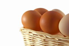 Eggs. Chicken eggs in a basket on a white background royalty free stock photos