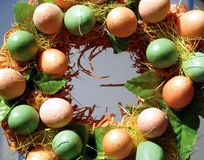 Eggs. Easter arrangement of pink and green eggs Stock Photography
